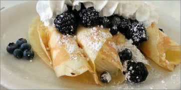 Crepes with Blackberries and Blueberries