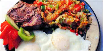 Grilled Steak with Eggs and Obrien Potatoes