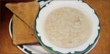 Bowl of Oatmeal with Toast