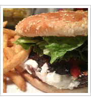 Portobello and Goat Cheese Burger at Rudys Cant Fail Cafe