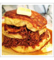 Pulled Pork Pancakes at The Red Wagon