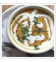 Pumpkin Coconut Curry Soup at The Root Cafe