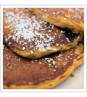 Pumpkin Oatmeal Pancakes at Dotties True Blue Cafe