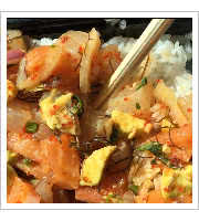 Salmon and Ahi Poke Bowl at Hanalei Poke