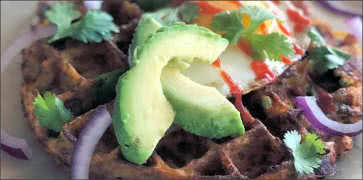 Sweet Potato Waffle with Avocado, Egg and Onions