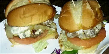Angus Sliders with Grilled Onions and Bleu Cheese