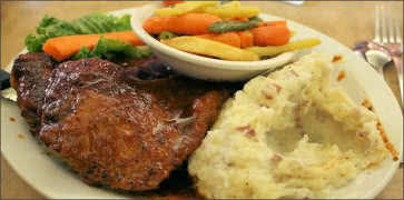 Lemonade Pork Chops with Veggies and Mashed Potatoes