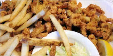 Fried Clams with Fries and Fresh Coleslaw
