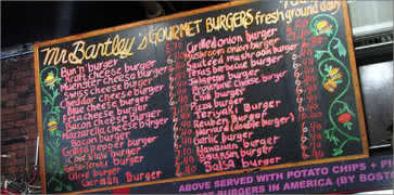 Mr Bartleys Gourmet Burgers Menu