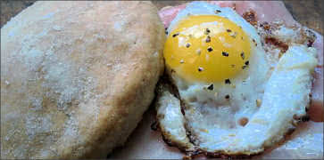 Breakfast Egg and Ham Biscuit