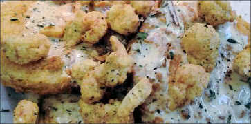Fried Green Tomatoes with Fried Crawfish
