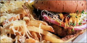 Mooless Burger with Parmesan Truffle Fries
