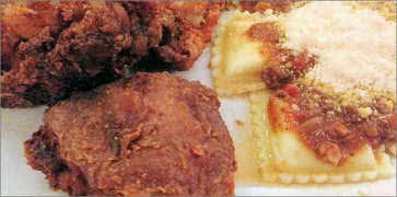 Fried Chicken with Beef Ravioli