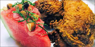 Fried Chicken with Watermelon