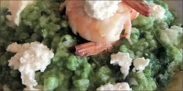 Nettle Risotto with Shrimp