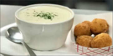 Clam Chowder with Hush Puppies