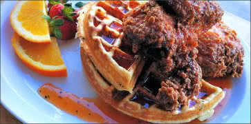 Fried Chicken on Waffles with Chili Maple Molasses Citrus Glaze