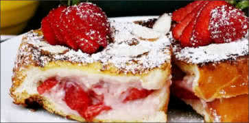 Strawberry Cream Stuffed French Toast