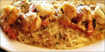 Shrimp Dijon over Capellini