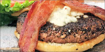 Cracked Pepper-Crusted Blue Cheese and Bacon Burger