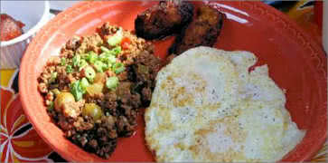 Cuban Hash with Eggs Breakfast