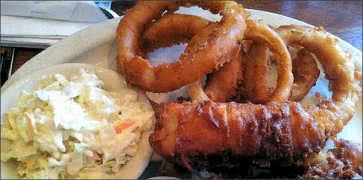 Fish and Chips with Onion Rings and Coleslaw