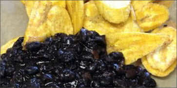 Black Beans with Fresh Plantain Chips